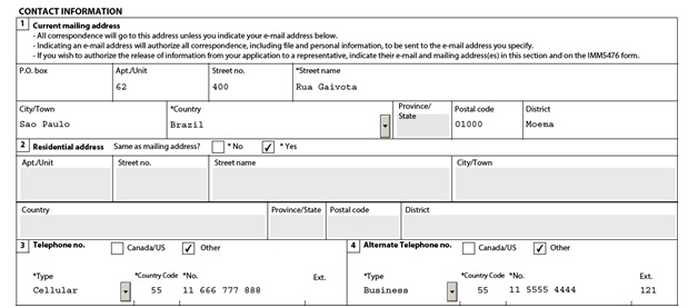 IMM 0008 General Application Form for Canada for a Sponsored Spouse Page 2 middle: Contact Details (of the sponsored spouse)