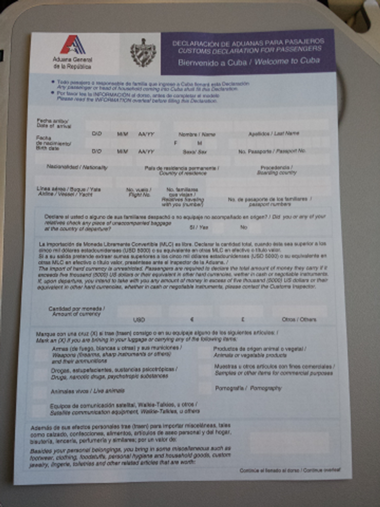 Cuban Customs Form