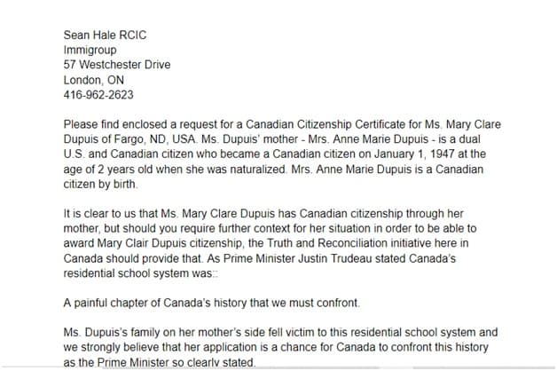 Citizenship certificate letter of explanation page 1 top
