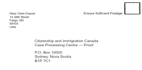 Mailing label for a citizenship certificate application