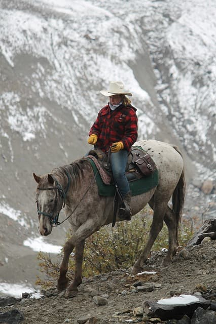 Cowgirl via https://pixabay.com/photos/cowgirl-western-canadian-mountain-1188214/