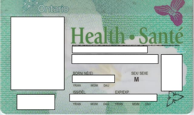 Ontario Health Card, used by permission