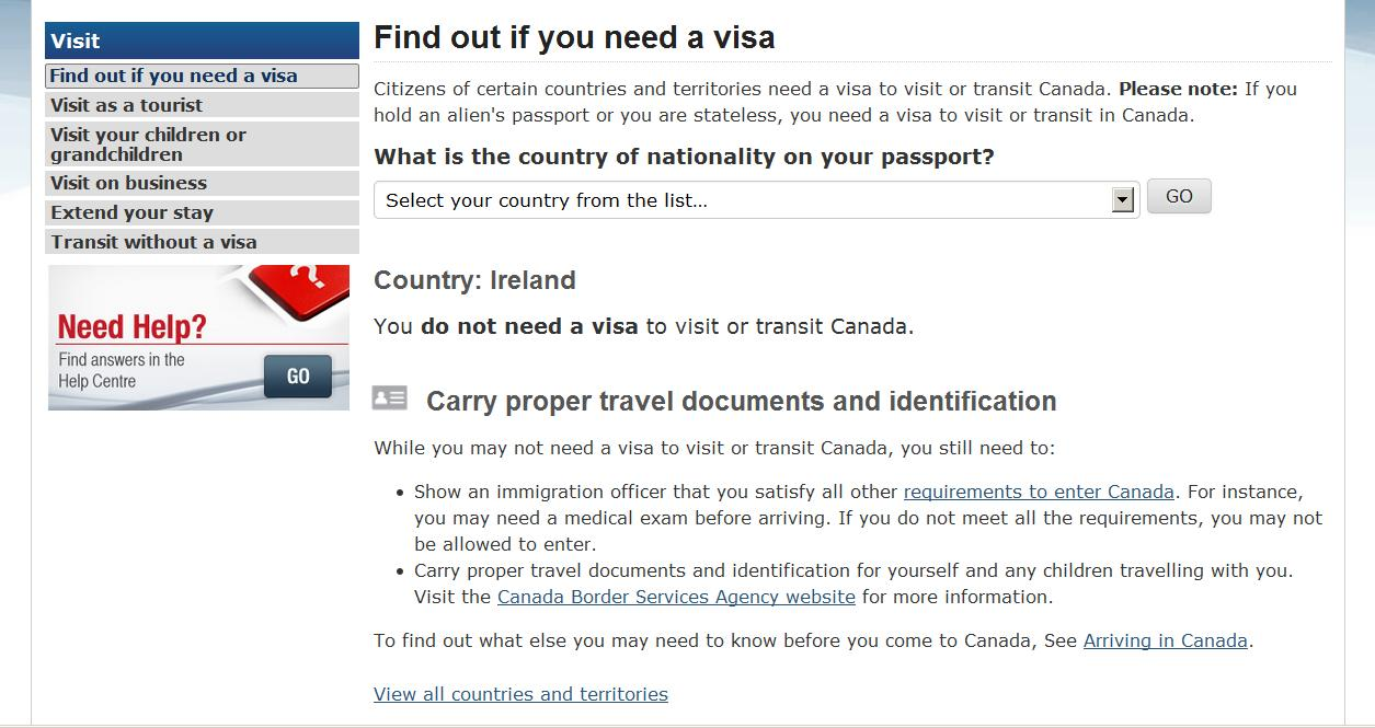 Citizenship and Immigration Canada's screen indicating the Irish do not need visas to Canada