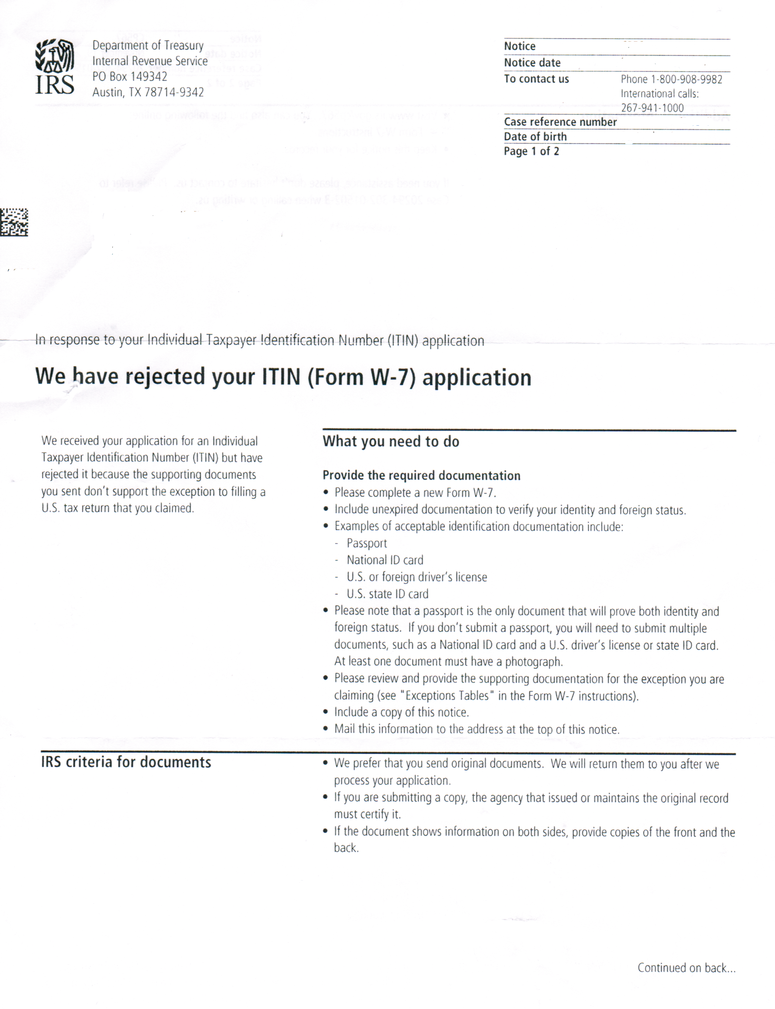 IRS ITN Rejection Letter