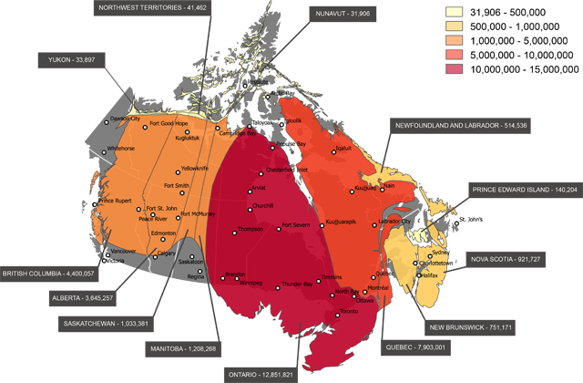 Map of Canada skewed by population
