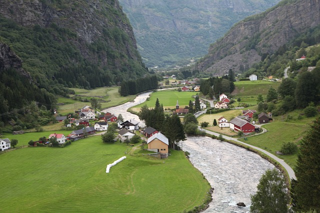 Norway via https://pixabay.com/en/norway-fjord-village-panorama-954895/