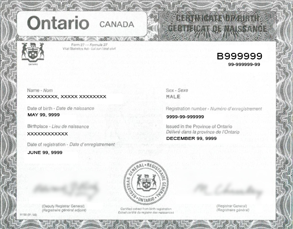 Sample Ontario Birth Certificate