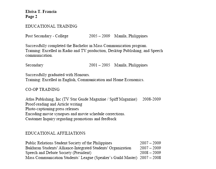 canada vs  philippines  how to make a filipino resume canadian - immigroup