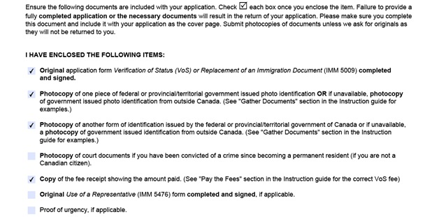 Completed VOS Application Form Part 8