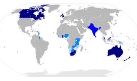 Commonwealth members by Thebainer (Stephen Bain) (Own work, derived from Image:BlankMap-World6.svg) [GFDL (https://www.gnu.org/copyleft/fdl.html) or CC-BY-SA-3.0-2.5-2.0-1.0 (https://creativecommons.org/licenses/by-sa/3.0)], via Wikimedia Commons