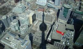Toronto via https://pixabay.com/en/shadow-cn-tower-toronto-city-view-2529/